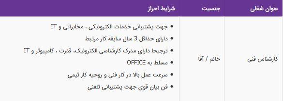 استخدام کارشناس فنی در شرکت طلوع آرین هوشمند در تهران