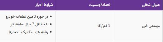 استخدام مهندس فنی در شرکت معتبر در تهران