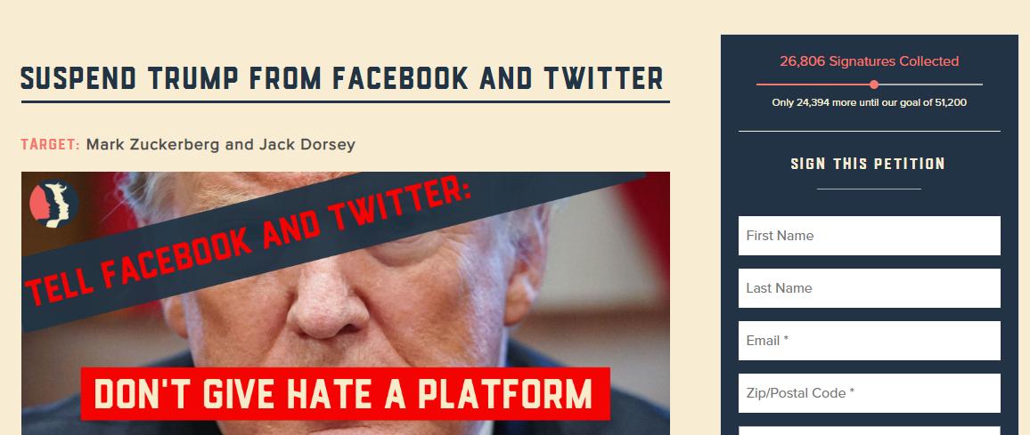 طومار بیرون راندن ترامپ از رسانههای اجتماعی ۲۶۰۰۰ امضا جمع کرد
