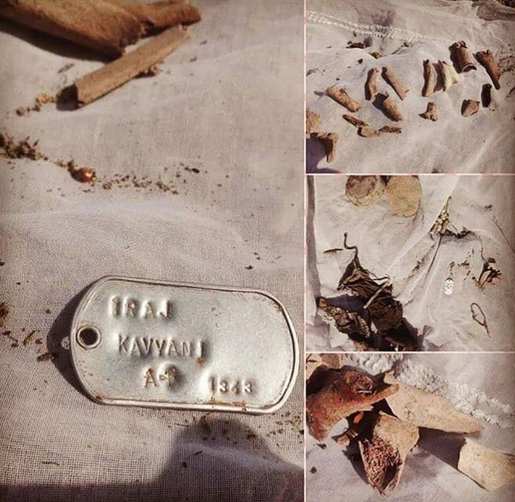 کشف بقایای پیکر یک شهید پس از بالا آمدن آب در رود کارون + عکس