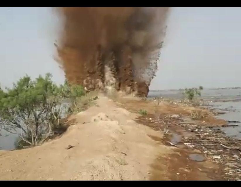 انفجار دژ شاخه خروسی تالاب شادگان توسط سپاه +فیلم
