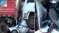 زنده ماندن باورنکردنی راننده جوان در تصادف شدید رانندگی! +فیلم
