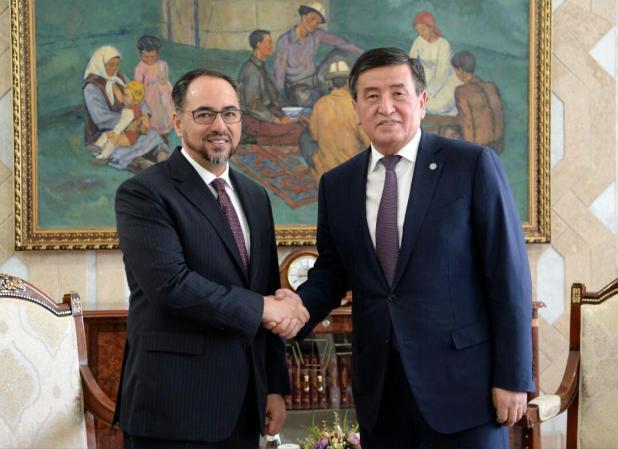 دیدار و گفتگوی ربانی با رئیس جمهور قرقیزستان در بیشکک