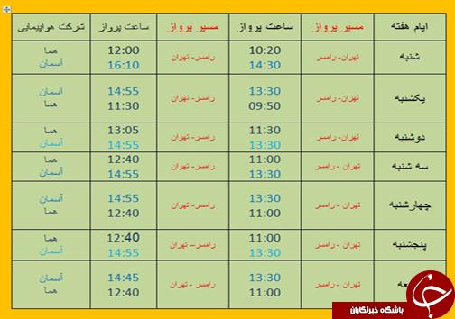 پروازهای یکشنبه یکم اردیبهشت ماه فرودگاههای مازندران
