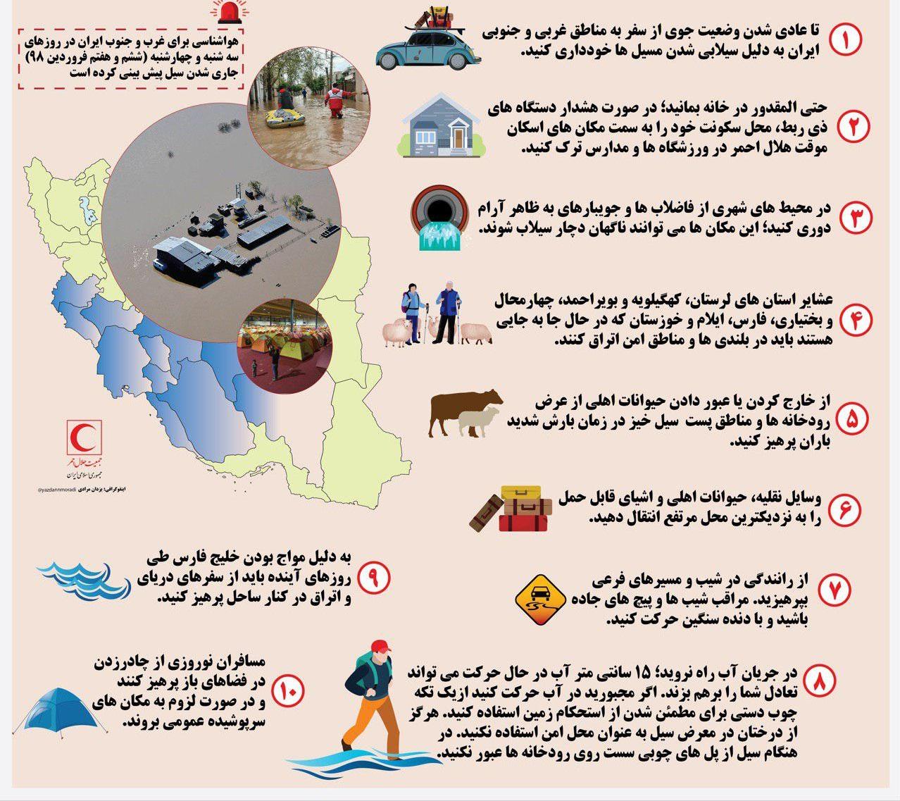 ۱۰ نکته مهم برای مسافران و ساکنان غرب و جنوب ایران+ اینفوگرافی