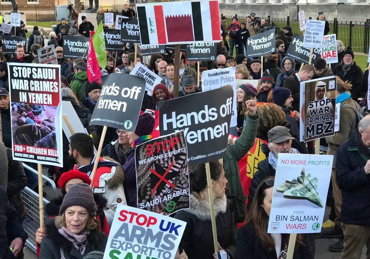 اعتراض مردم لندن به تداوم فروش سلاح به رژیم سعودی