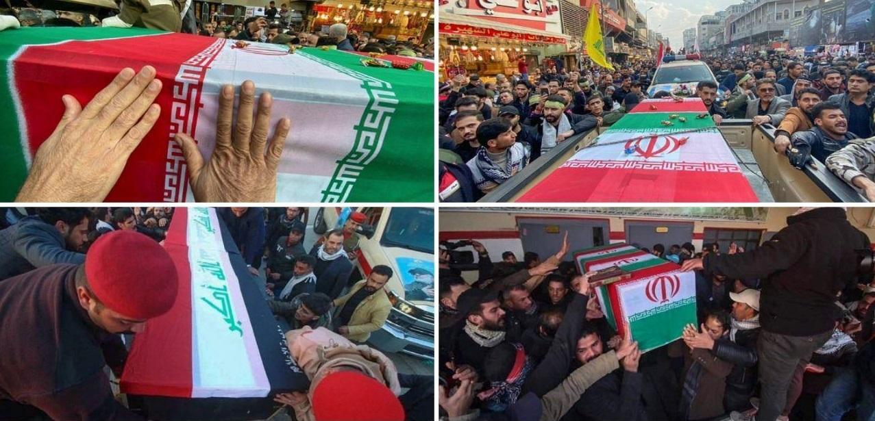 مراسم تشییع پیکرهای شهدای حمله تروریستی آمریکا در کاظمین + تصاویر