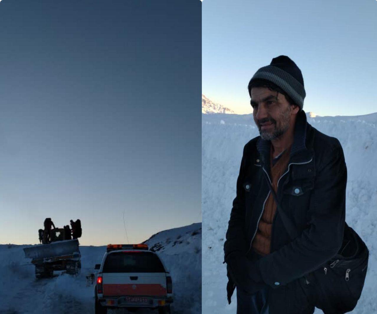 نجات فرد گرفتار در برف پس از ۱۰ ساعت