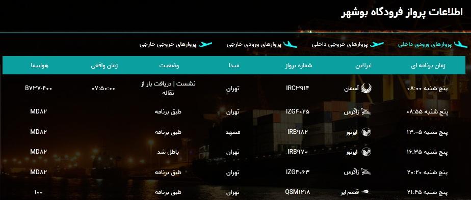 جدول پروازهای فرودگاه بوشهر در ۲۶ دی ۹۸