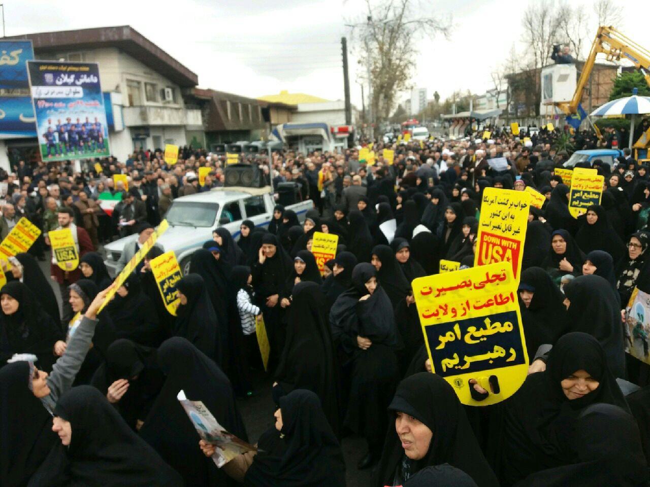 حضور پر شور مردم رشت در راهپیمایی حمایت از سپاه پاسداران انقلاب اسلامی