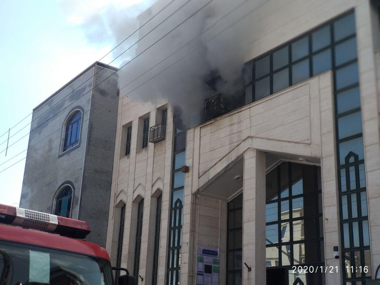 آتش سوزی در مهمانسرای بانک ملی زاهدان / حادثه خسارت جانی نداشت