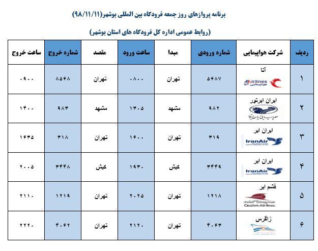 پروازهای فرودگاه بوشهر در ۱۱ بهمن ۹۸