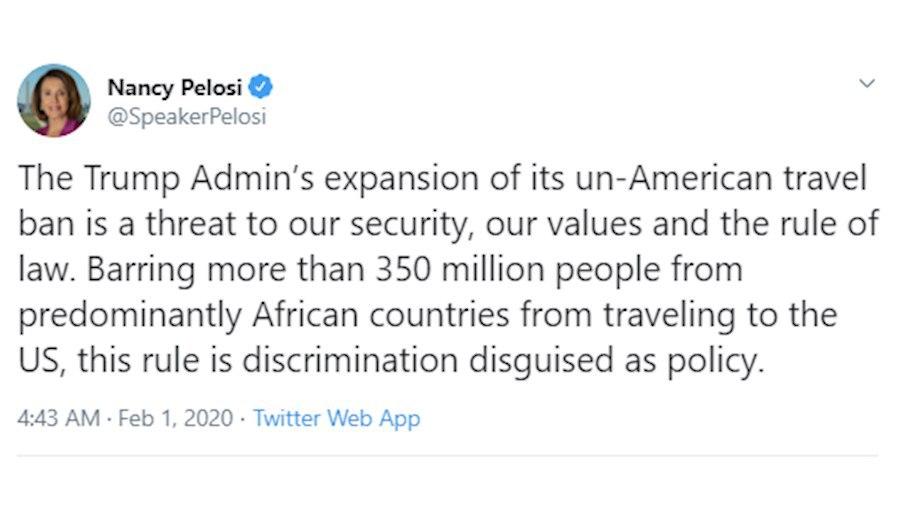 توییت پلوسی درباره ممنوعیت سفر به آمریکا
