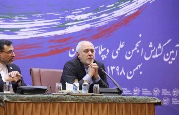 آغاز سخنراني ظريف در آيين گشايش رسمي انجمن علمي ديپلماسي ايران