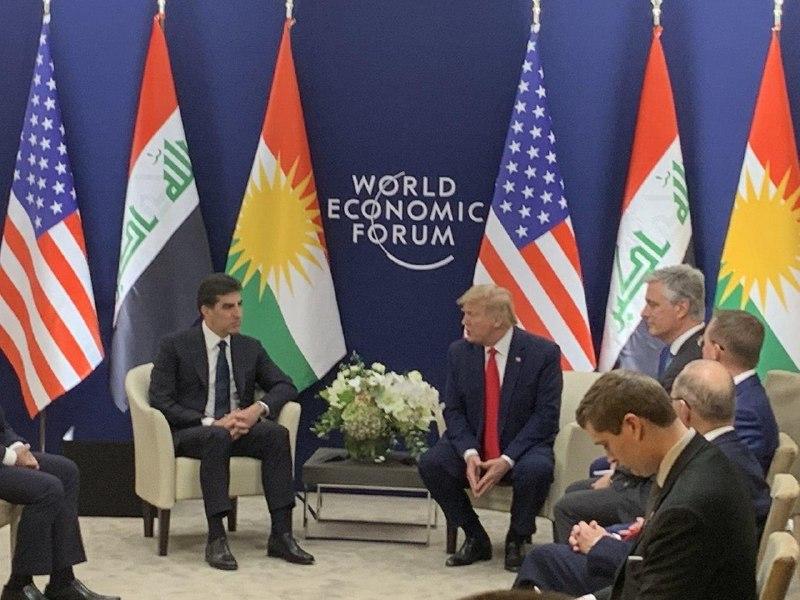 دیدار ترامپ با رئیس اقلیم کردستان عراق در داووس+ تصاویر