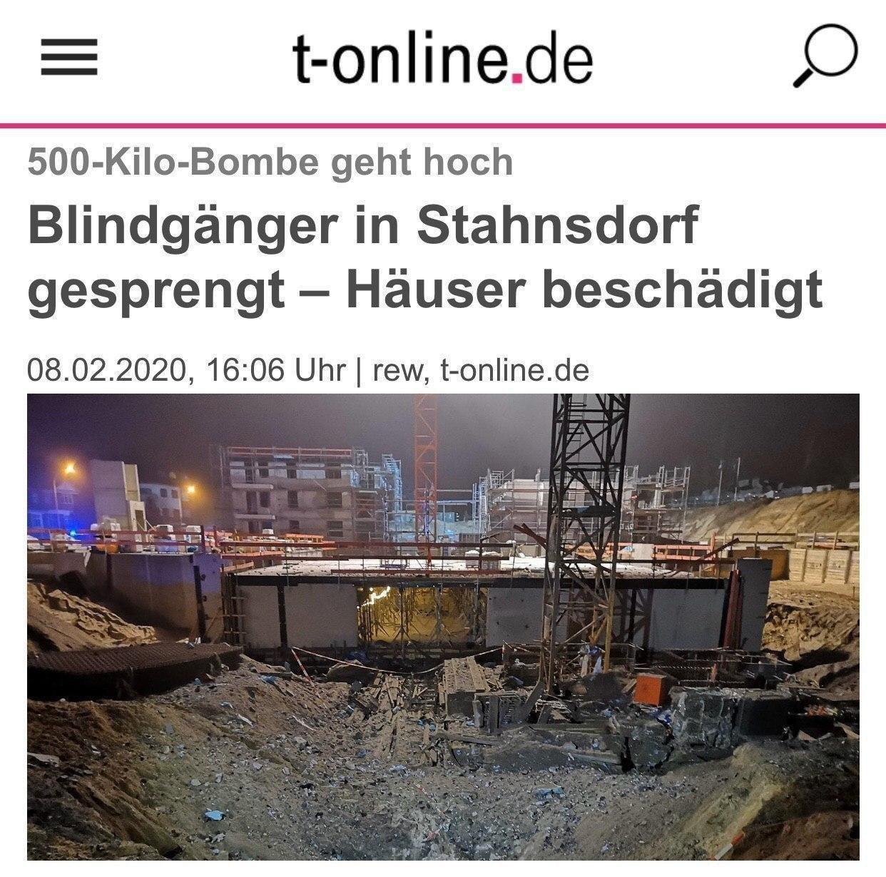 بمب ٥٠٠ كيلویی در آلمان منفجر شد