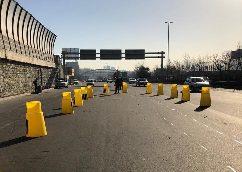 توضیحات پلیس درباره اصلاح هندسی مسیر شرق به غرب بزرگراه شهید خرازی قبل از پل آزادگان