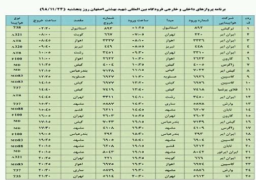 اعلام فهرست ۲۵ پرواز فرودگاه شهید بهشتی اصفهان