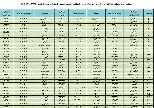 اعلام فهرست ۲۹ پرواز فرودگاه شهید بهشتی اصفهان