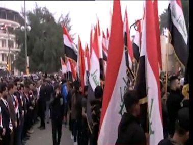 تظاهرات ضدآمریکایی مردم عراق علیه حضور نظامیان آمریکایی + فیلم