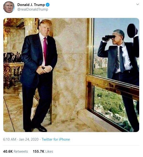 طعنه توییتری دونالد ترامپ به باراک اوباما