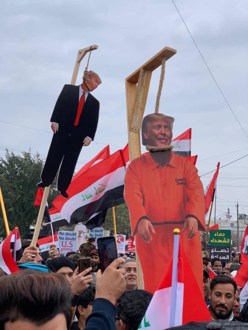 دار زدن آدمک ترامپ و نظامیان تروریست آمریکایی در تظاهرات میلیونی بغداد