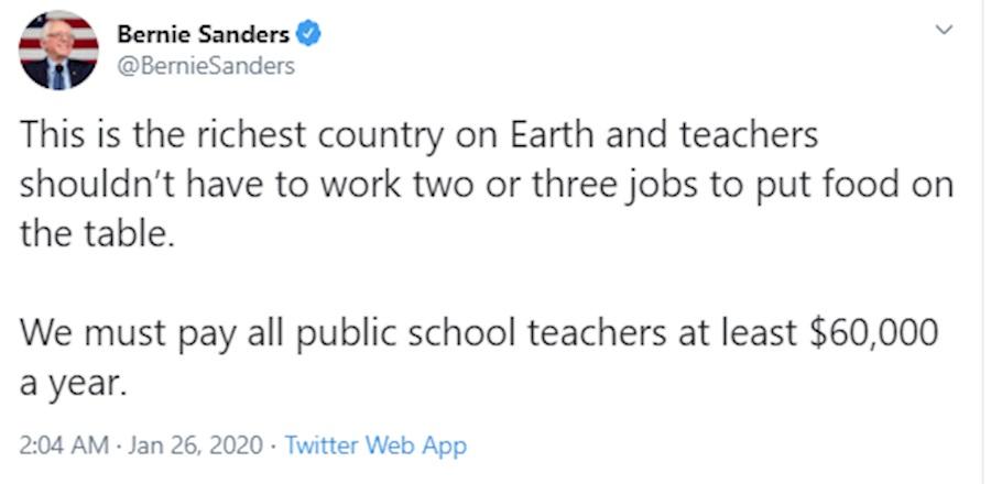 توئیت برنی سندرز درباره معلمان آمریکایی