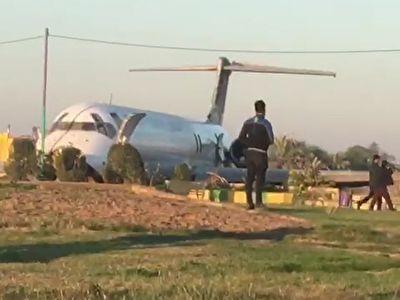 خروج هواپیمای شرکت هواپیمایی کاسپین از باند فرودگاه در ماهشهر + فیلم
