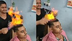 مهارت خیرکننده آرایشگر در آرایش مو با آتش!