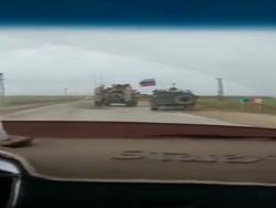 درگیری خودروهای زرهی آمریکا و روسیه در سوریه + فیلم