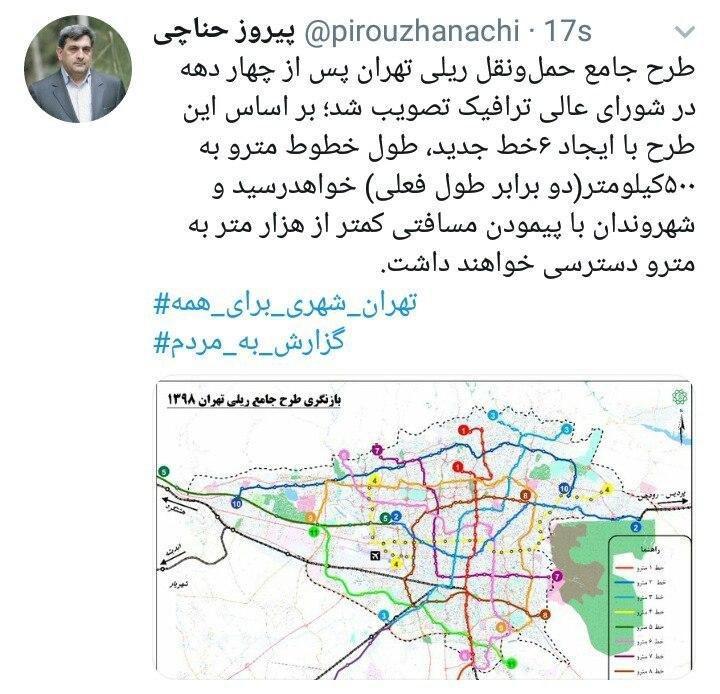 طرح جامع حمل و نقل ریلی تهران تصویب شد