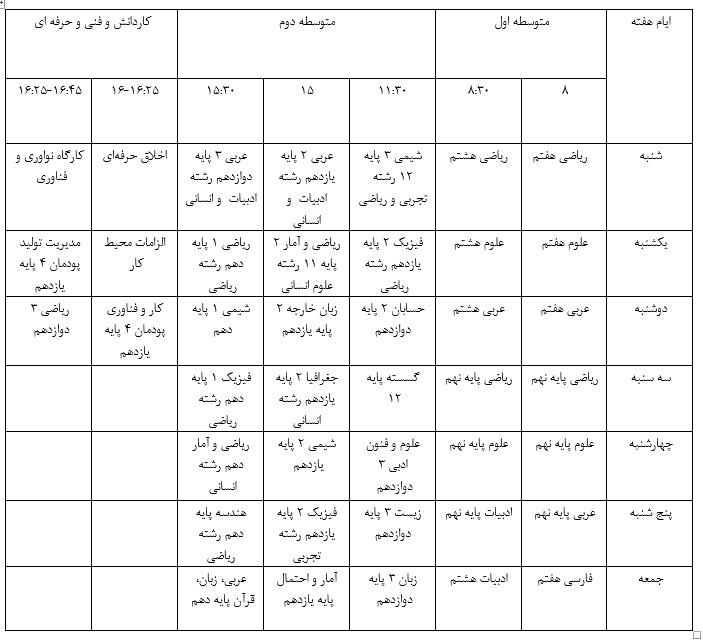جدول پخش آموزش دوره متوسطه اعلام شد