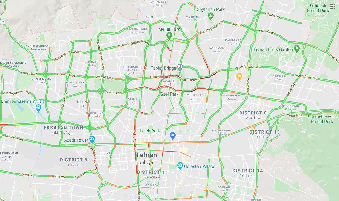 شاخص 150 واحدی آلودگی هوای تهران در روز ترافیک سبز