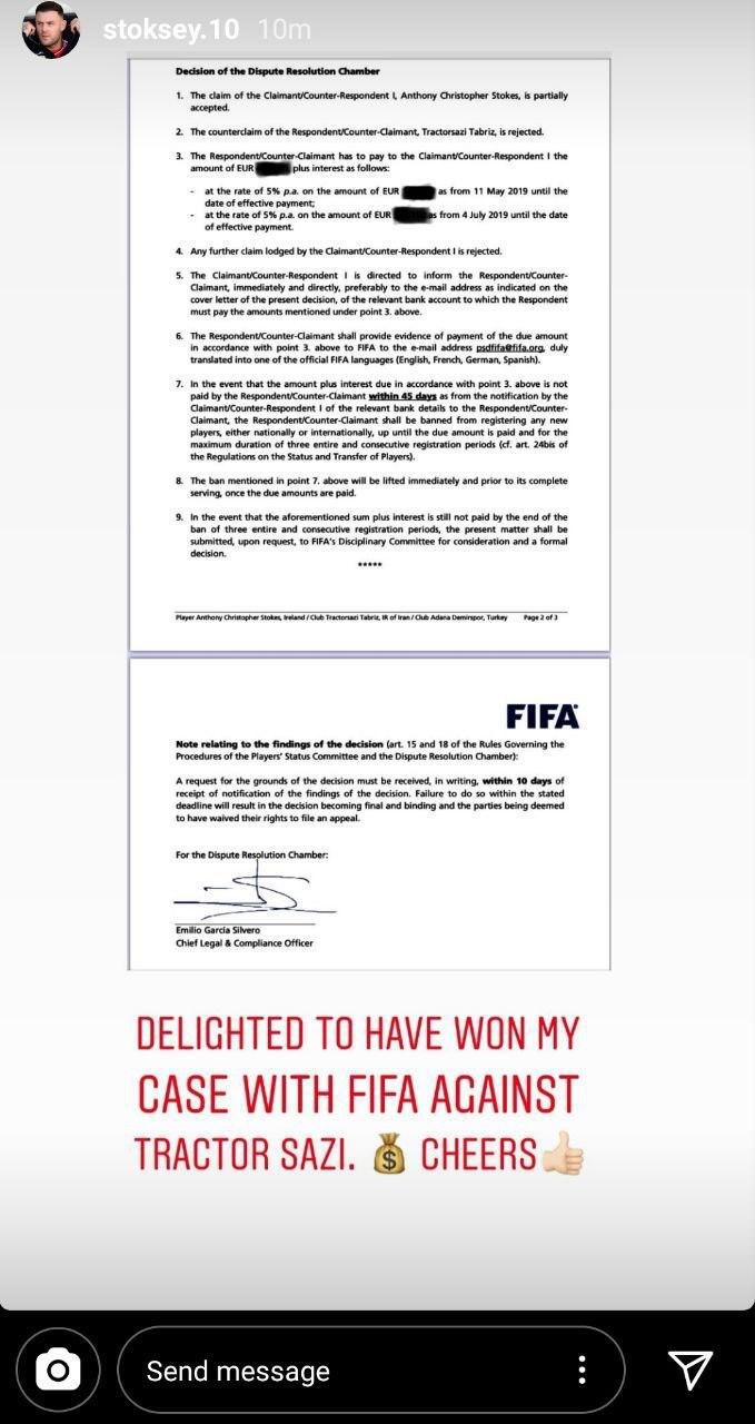 واکنش  استوکس به پیروزی در مقابل تراکتور در فیفا