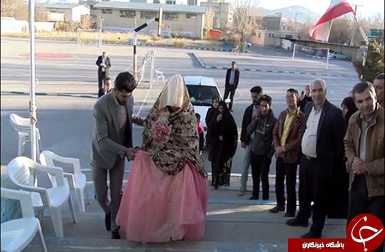 حضور عروس و داماد پای صندوق رأی