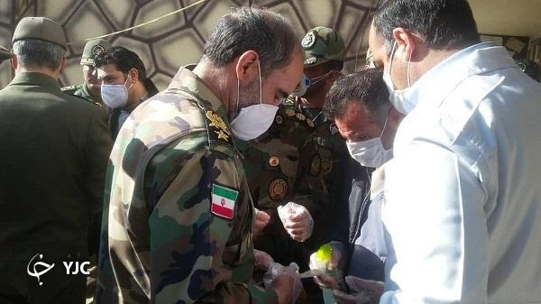 بازدید امیر سرتیپ جهانشاهی از کارگاه تولید مواد ضد عفونی کننده شهید زرهرن