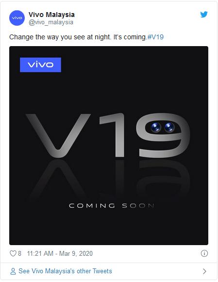 یک گوشی vivo V19 دیگر در راه مالزی است
