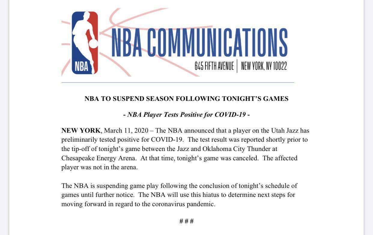 رقابت های بسکتبال NBA لغو شد/ شوخی عجیب بازیکن بسکتبال با کرونا و مبتلا شدنش به این ویروس