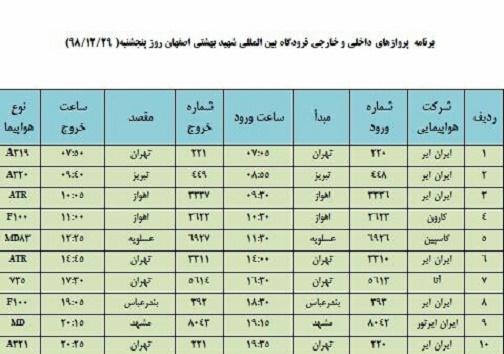 برنامه پروازهای ۲۹ اسفند فرودگاه شهید بهشتی