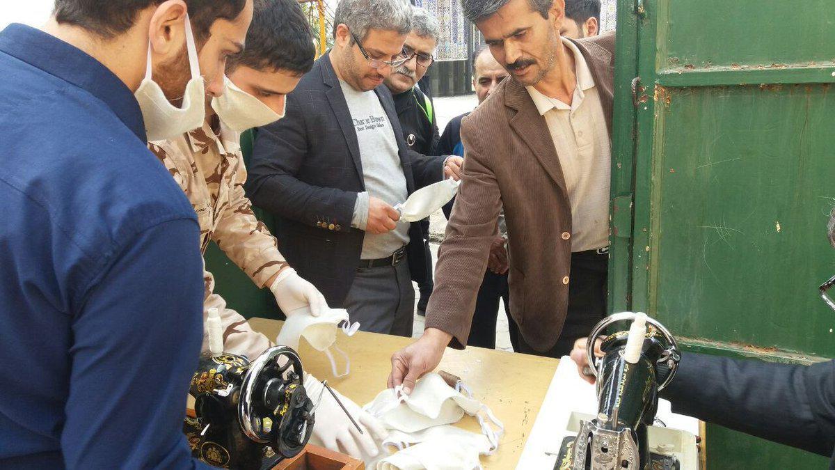 تولید و توضیع ماسک رایگان میان مردم توسط گروه های جهادی