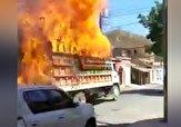 باشگاه خبرنگاران - جولان کامیون در خیابانهای شهر پس از آتش گرفتن! + فیلم