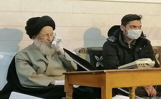 حضور آیت الله علوی گرگانی در دفتر با رعایت مسائل بهداشتی+عکس