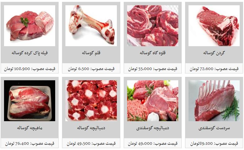 قیمت  انواع گوشت تازه گوساله و گوسفندی داخلی