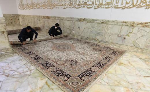 ضد عفونی مستمر فرشها و رواقهای حرم مطهر+تصاویر