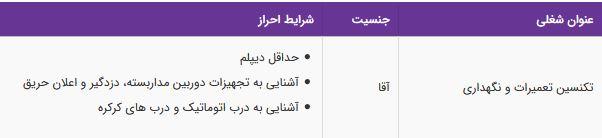 استخدام تکنسین تعمیرات و نگهداری در تهران