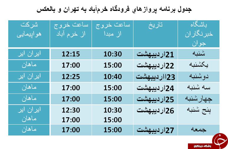 برنامه پروازهای فرودگاه خرمآباد از ۲۱ تا ۲۷ اردیبهشت ماه