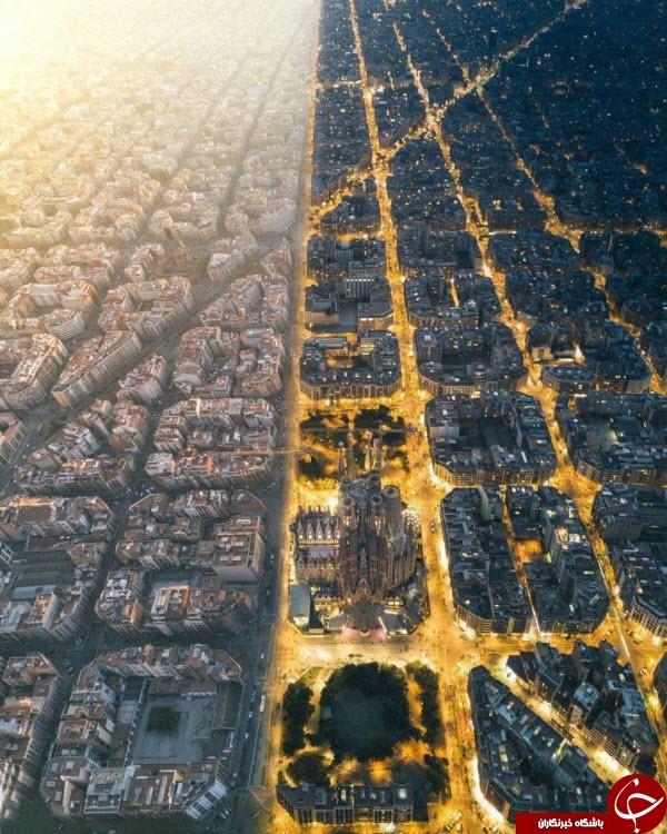 دو تصویر چسبیده بهم و دیدنی از نمای بالای شهر بارسلون در شب و روز