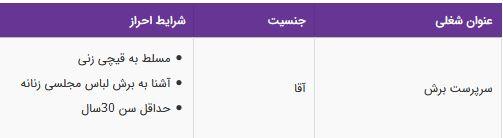 استخدام سرپرست برش آقا مسلط به قیچی زنی در تهران