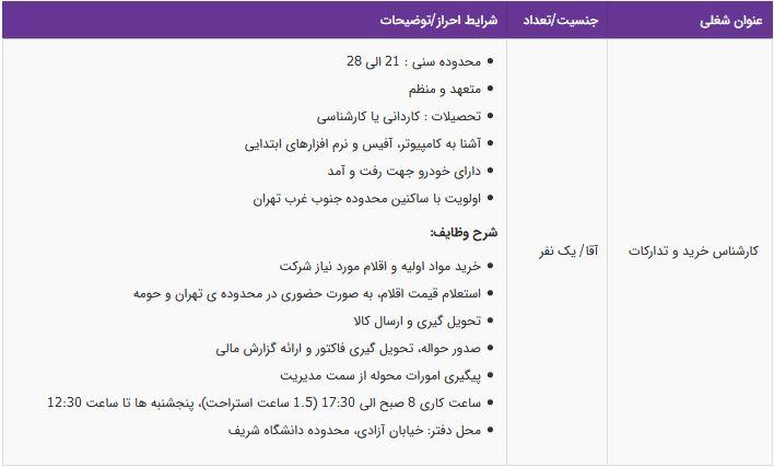 استخدام کارشناس خرید و تدارکات آقا در تهران