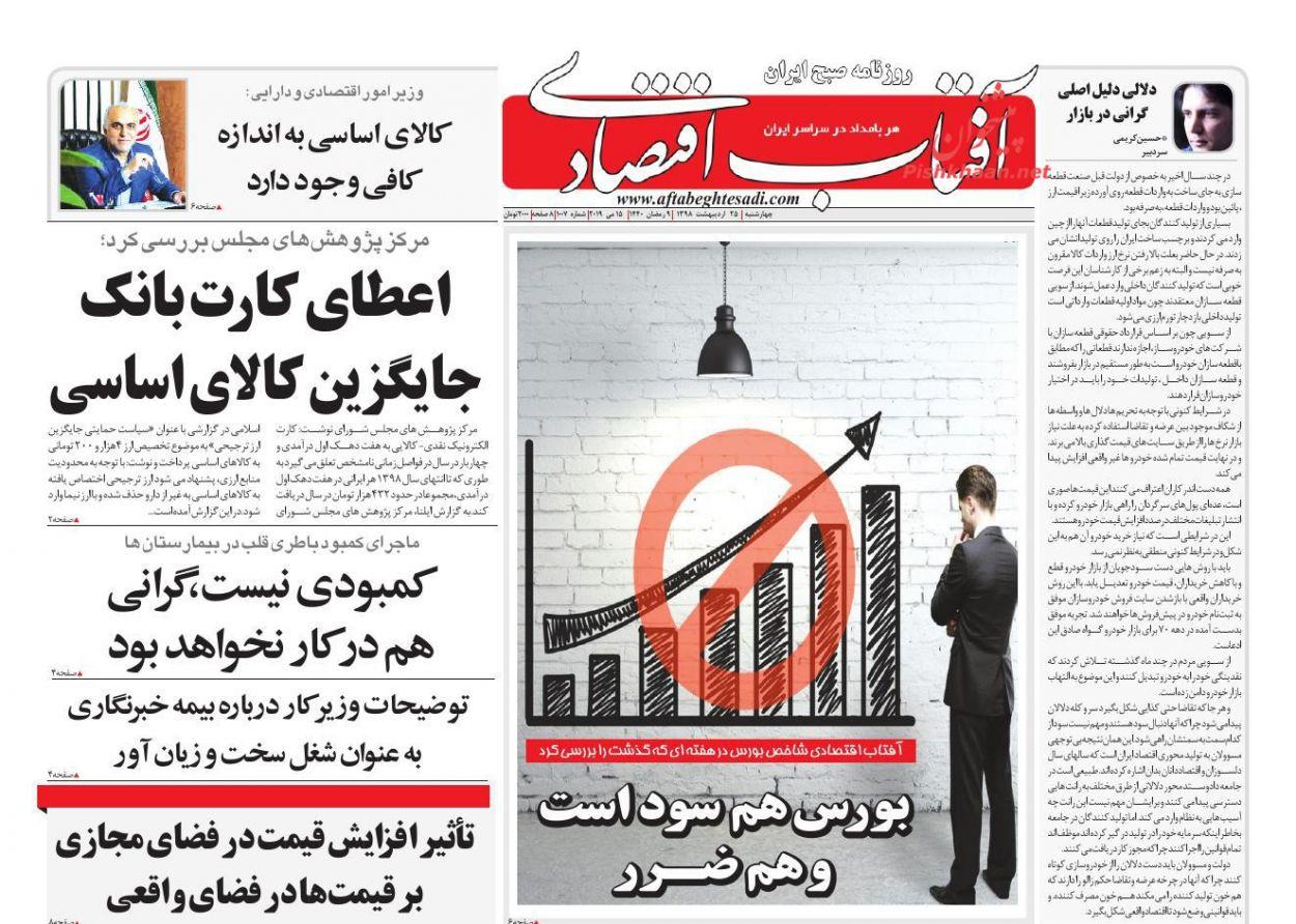 صفحه نخست روزنامههای اقتصادی ۲۵ اردیبهشت ماه